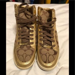 COACH NORRA GOLD & TAUPE HIGH TOP TENNIS SHOES